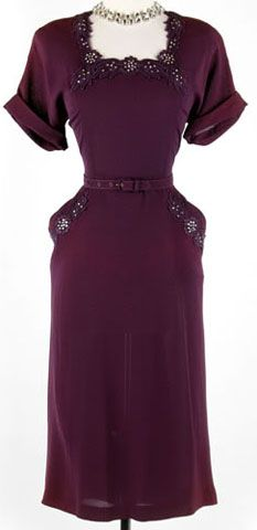 Purple rayon cocktail dress with rhinestone embellishment and floral lace appliqué, 1940s.