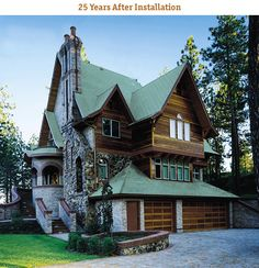 25 year old copper roofing -This website shows how copper changes in the elements over 25 years.  Gorgeous!