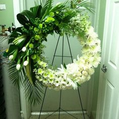 Send the White Funeral Wreath bouquet of flowers from The Flower Bar Design in Basehor, KS. Local fresh flower delivery directly from the florist and never in a box! Grave Flowers, Cemetery Flowers, Church Flowers, Funeral Flowers, Wedding Flowers, Flower Wreath Funeral, Flowers Garden, Wedding Dress, Arrangements Funéraires