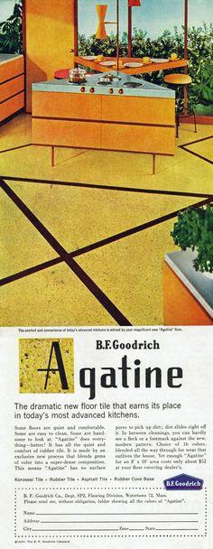 Agatine floor tile by B.F. Goodrich, 1956