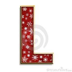 Alfabeto navideño con letra mayúsculas. Letra L.