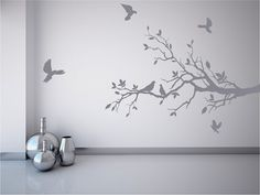 Tree branch wall decal with pretty doves, mural stickers