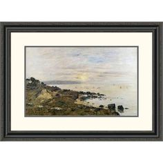 Global Gallery 'Cliffs at Benerville, Sunset' by Eugene Boudin Framed Painting Print Size: