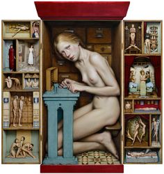 Dino Valls:  DIORAMA, 2016. Oil and and gold leaf on wood, 106 x 100 cms.(open) (articulated triptych)