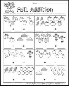 Addition Worksheets First Grade Activities Kindergarten Math Activities, First Grade Activities, 1st Grade Math, Preschool, Addition Worksheets First Grade, Math Addition Games, Thanksgiving Math Worksheets, Literacy Worksheets, Super Worksheets