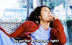 Cristina Yang, Meredith Grey, and Izzie Stevens talking about Izzie magazine layout..
