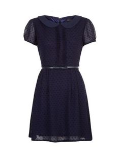 Blue (Blue) Navy Flocked Peter Pan Collar Belted Dress  | 284180940 | New Look
