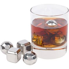 4 Drink Cubes with Tongs Stainless Steel Whiskey Stones 4 Piece Whisky Chilling Stones for Liquor and Spirits Reusable Beverage Cooling Rocks Scotch Drawstring Case and Luxurious Box