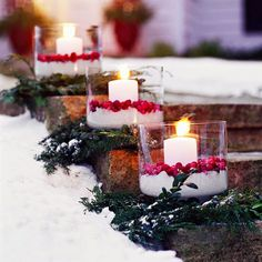 Christmas Cranberry Luminarias-greenery base, kosher salt, cranberries and pillars. In pairs on both sides of steps. Remove greenery for Valentines.  Sometimes we forget to decorate the outside of our houses, so these are some great ideas! For more ideas  (christmas party lighting)