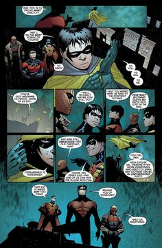 The four of five Robins: Dick, Jason, Tim, and Damian… Nightwing, Red Hood, Red Robin, and Robin V (missing is Robin IV Stephanie Brown)