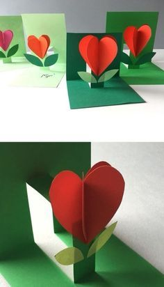 Children's card for March 8 - My MartoKizza Bee Crafts, Preschool Crafts, Diy And Crafts, Paper Crafts, Fun Fold Cards, Pop Up Cards, Fathers Day Crafts, Valentine Day Crafts, Diy For Kids