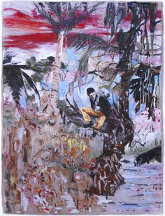 HERNAN BAS Downhill at Dusk (the Runaway), 2008 mixed media on linen over panel 40 x 30 inches x cm Contemporary Landscape, Contemporary Paintings, Figure Painting, Painting & Drawing, Painting Inspiration, Art Inspo, Art In Miami, Neo Dada, Beautiful Paintings