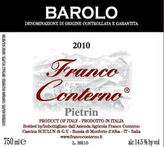 Franco Conterno Barolo Pietrin 2011 Barolo Wine, Virginia Wineries, Food Combining, Light Orange, Wine Gifts, Wine Labels, High Level, Italy, Wine Tags