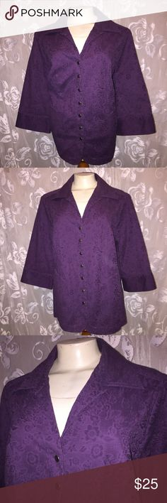 Deep plum purple lightweight plus size jacket Women's plus size 2x lightweight jacket. Button closure.  Very pretty deep purple colors.   ~ Bundle up & save on shipping!  Check out my other listings! ~ I am open to reasonable offers. ~I do my best to describe each item thoroughly.  ~I ship same day or next day.  ~ I do not hold items.   ~Not responsible for incorrect sizing. I go by what the tag says its up to the buyer to know their size. CJ Banks Jackets & Coats Trench Coats