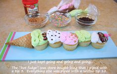 Ice cream cone CUPCAKES! Cute idea!