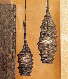 $198.00 Roost Fish Catcher Hanging Lamps Roost fish catcher hanging lamp is created using the same knot techniques fishermen use for their nets, these dark brown twine lamps come in two catchy sizes.