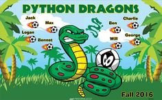 Python Dragons B55142  digitally printed vinyl soccer sports team banner. Made in the USA and shipped fast by BannersUSA.  You can easily create a similar banner using our Live Designer where you can manipulate ALL of the elements of ANY template.  You can change colors, add/change/remove text and graphics and resize the elements of your design, making it completely your own creation.