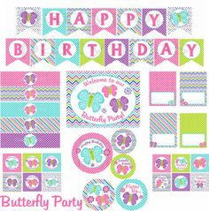 Butterfly Party, Butterfly Party Package, Butterfly Birthday , Butterfly Printable, Spring Party, 1st Birthday, Pink, INSTANT DOWNLOAD