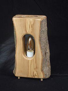 meubles écologiques - atelier bois nature Rustic Wooden Shelves, Wooden Lamp, Driftwood Lamp, Cabin Lighting, Bois Diy, Wood Joinery, Creation Deco, Lampe Led, Unique Lamps