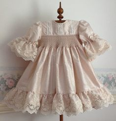 Silk and Lace Hand smocked Couture Dress for little girls, Birthday, Dusty Pink Silk and Ivory Laces, Custom Order Only, sizes 3 and 4 - Welt der HochzeitParis Rose Hand Smocked Baby Dress 6 months - Last One in this FabricInfant Girl Clothes - Janua Special Dresses, Nice Dresses, Little Girl Dresses, Girls Dresses, Smocked Baby Dresses, Dress Anak, Baby Dress Design, Feather Dress, Vestidos Vintage