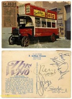 "postcard, which was prepared as one of several promotional pieces for the release of The The Who ""Magic Bus"" single in the United Kingdom, signed by all four members of The Who… Pete Townshend, Roger Daltrey, John Entwistle, and Keith Moon."
