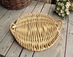 Woven Wicker Platter - Wood Serving Tray - Cheese Board - Pastry Platter - French Rustic Decor - Farmhouse Breakfast Table