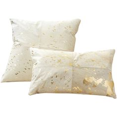 Global Bazaar Gold Ivory Cowhide Decorative Pillows Set of 2 ($200) via Polyvore featuring home, home decor, gold home accessories, cowhide home decor и gold home decor