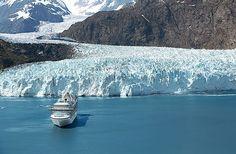 Princess cruise ship next to a glacier in Alaska