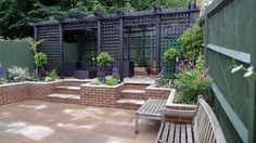 "I have been struggling with how to marry the brick work which I don't care for with a Japanese esthetic ! Plus I was searching for a ""polite"" privacy screen to block a curious neighbor!            Japanese brick patio - Google Search"