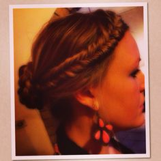 Fishtail braid amoungt a braided bun - wearing beautiful SW earrings @Samantha Wills