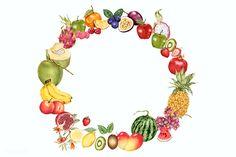 Watercolor Circles, Watercolor Fruit, Wreath Watercolor, Colorful Fruit, Tropical Fruits, Floral Flowers, Flower Art, Pure Coconut Water, Food Poster Design