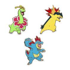 Official Meganium, Typhlosion, and Feraligatr Pokémon Pins. These Johto…