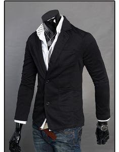 New Men's Sexy Single Row Two Button Blazer