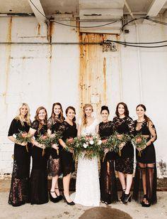 Bridesmaids in black lace dresses
