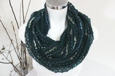Green black unisex scarves Green black infinity by NESRINDESIGN