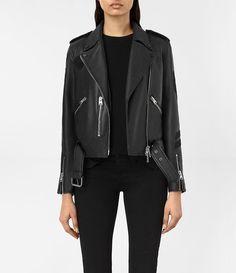 Womens Badge Balfern Leather Biker Jacket (Black) - product_image_alt_text_1