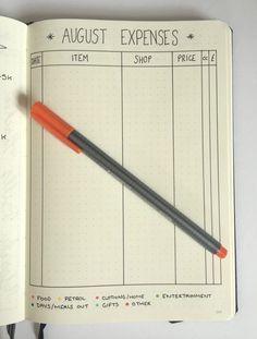 bullet journal budgeting august expenses and spending log #bujo #planner #plannercommunity #cbloggers