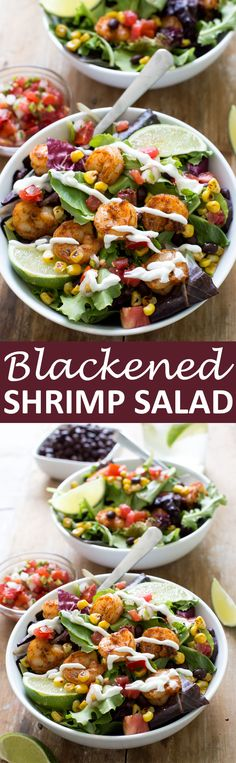 Blackened Shrimp Salad loaded with tons of flavor! Piled high with salsa, corn, black beans and spicy blackened shrimp. A healthy and flavorful summer meal! | chefsavvy.com #recipe #blackened #shrimp #salad #mexican