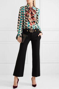 Gucci   Pussy-bow printed silk-twill shirt   NET-A-PORTER.COM