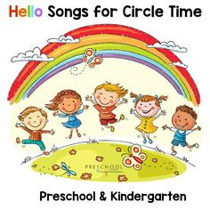 Illustration about Kids jumping with joy on a hill under rainbow, colorful cartoon. Illustration of drawing, illustration, good - 48710213 Hello Songs Preschool, Kindergarten Clipart, International Children's Day, Stock Foto, Circle Time, Child Day, Happy Kids, Business Card Logo, Art For Kids