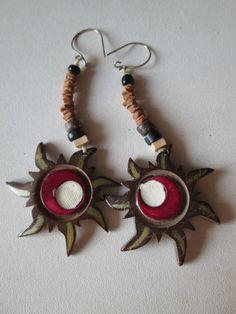1 Paar Ohrringe aus Brasilien Länge ca. 10cm Ohr Hippie Goa 3 Sonne