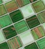 Pearly and stripey iridescent green tiles...