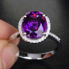 Dark Purple AMETHYST PAVE DIAMOND 14K WHITE GOLD Halo Engagement RING