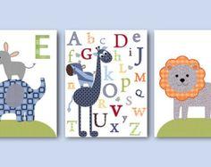 Marine vert bleu gris Art mur de toile Art Lion éléphant girafe Alphabet bébé crèche Decor bébé garçon chambre d'enfant bébé chambre Decor chambre de bébé lot de 3