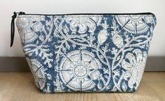 Blue and white batik large zipper pouch