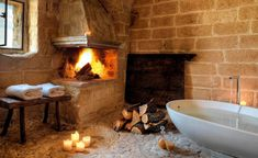 Beautiful Fireplace Bath in Natural Cave Hotel, Italy