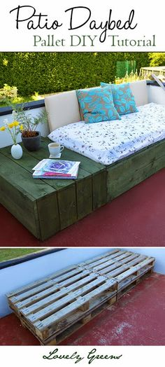 Use pallets to create a modern and chic patio daybed - why buy expensive outdoor furniture when you can make it yourself! #pallet