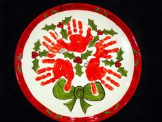 Christmas handprint plate to order
