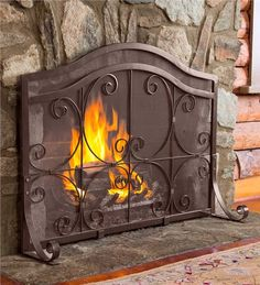 Main image for Small Crest Flat Guard Fireplace Screen And Tool Set