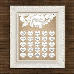 Burlap and Lace - Wedding Guest Book - Signature Hearts - Guest Book Art Print x - Up to guests - Printable File Lace Wedding, Our Wedding, Wedding Ideas, Wedding Guest Book Alternatives, Big Day, Book Art, I Shop, Burlap, Shabby Chic